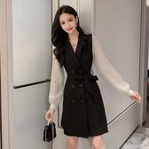 洋裝 韓系雙排扣黑色西裝長袖連身裙 小禮服 花漾小姐【預購】