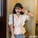 法式上衣~ 白色襯衫女設計感小眾法式系帶抽繩收腰顯瘦荷葉邊短袖泡泡袖上衣