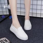 布鞋厚底鞋黑白色一腳蹬懶人鞋帆布鞋百搭休閑鞋女鞋樂福鞋小白鞋 美芭