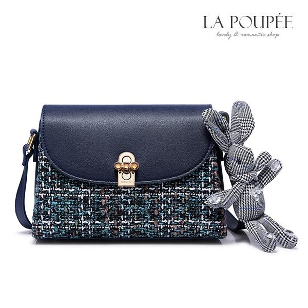 側背包 彩色粗花呢兔子吊飾小方包-La Poupee樂芙比質感包飾 (預購+好禮)