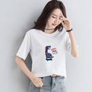 短袖白色t恤 2020夏裝新款 寬鬆百搭 大碼韓版半袖T恤上衣