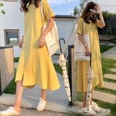 孕婦連身裙短袖長款寬鬆純棉夏天遮肚子長裙t恤裙上衣孕婦裝夏裝(中秋禮物)