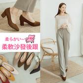 Ann'S天堂版型-顯瘦V口霧面純色粗跟方頭跟鞋5.5cm-咖