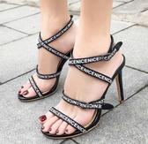 高跟涼鞋 高跟鞋 夏季新款歐美款字母細帶高跟羅馬女涼鞋韓版女鞋子【多多鞋包店】ds4095
