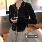 PPHOME~韓國簡約特別設計感撞色polo領針織上衣6 幸福第一站