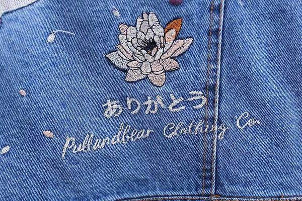 春秋短款BF風學生字母仙鶴刺繡寬鬆藍色牛仔外套外套女上衣潮 居享優品