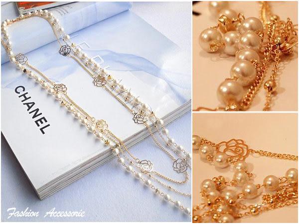 【櫻桃飾品】玫瑰精緻珍珠 鎖骨鍊 項鍊  【20596】