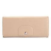 LONGCHAMP Le Pliage Cuir賽馬logo烙印軟扣式皮革長夾(米白)480814-484