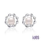 ides愛蒂思 日本設計AKOYA經典系列天然珍珠耳環6-6.5mm/小花圈