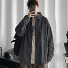 港風牛仔襯衫夾克長袖寬鬆工裝襯衣秋冬季韓版潮流INS休閒外套
