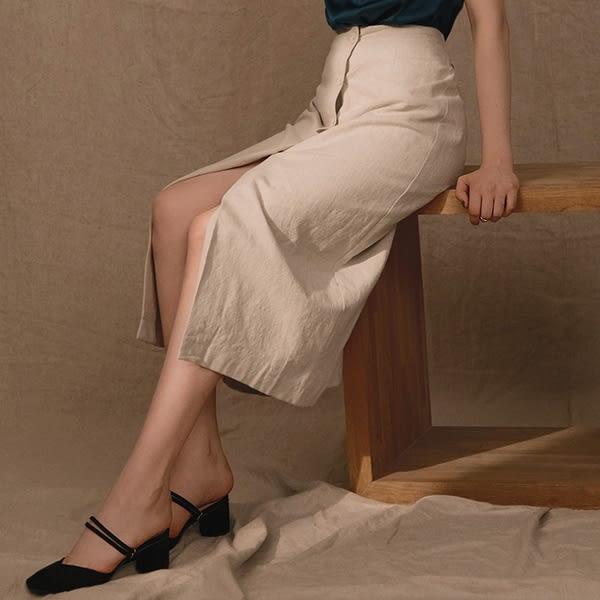 AIR SPACE LADY 率性前開衩排扣長裙 2色