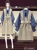 大碼套裝微胖妹妹新款大碼秋季遮肚適合胯大顯瘦襯衫連衣裙兩件套裝 多色小屋YXS