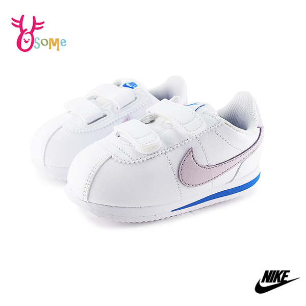 NIKE阿甘鞋小童阿甘鞋寶寶鞋皮革小白鞋童白鞋白x紫休閒運動鞋 P7220