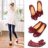 Ann'S甜美泡泡糖-大蝴蝶結水鑽小羊漆皮平底娃娃鞋-酒紅