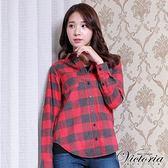 Victoria 磨毛格紋中長版長袖襯衫-女-紅灰格