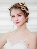 髮飾 新娘頭飾復古手工仙美金色葉子髮箍婚禮皇冠結婚婚紗飾品金屬髮飾 城市科技