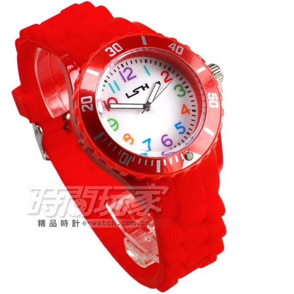 LSH 流行潮個性 彩色造型數字 休閒女錶 石英錶 LSH10020紅
