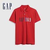 Gap男裝 Logo純棉網眼布POLO衫 702245-紅色