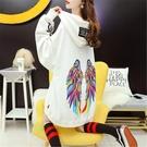 促銷九五折 連帽衛衣女中長款韓版寬松慵懶風新款秋季洋氣設計感上衣外套