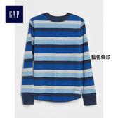 Gap男童 紋理感針織條紋長袖T恤 367397-藍色條紋