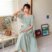 2021夏季新款長裙法式復古泡泡袖收腰方領桔梗裙網紅格子洋裝女 米娜小鋪