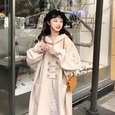 秋冬學院風寬鬆甜美呢子 大衣 連帽中長款長袖毛呢外套女 11-14