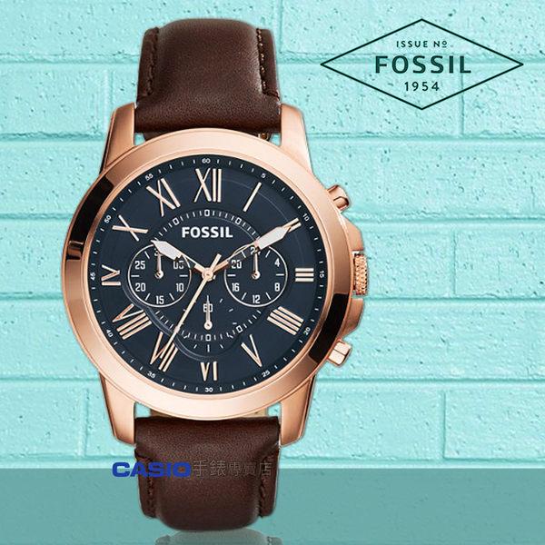 FOSSIL 手錶專賣店 國隆 FS5068 時尚三眼男錶 皮革錶帶 不鏽鋼錶殼 深灰色錶面 防水50米 計時功能