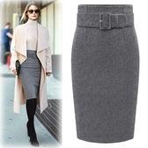 大碼長裙純色羊毛呢裙半身包臀窄裙