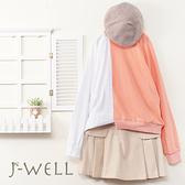 J-WELL 剪接拚色上衣毛呢短裙二件組(組合A525 9J1071粉+8W6262卡)