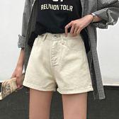 夏裝女裝韓版寬鬆百搭高腰純色牛仔褲顯瘦闊腿褲直筒褲短褲學生潮