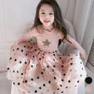 亮片拼接滿印星星紗裙長袖洋裝 連身裙 澎裙 連衣裙 長袖洋裝 紗裙 女童 橘魔法 洋裝 禮服
