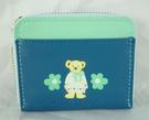【震撼精品百貨】MILK TEDDY _泰迪熊 ~ 皮製短夾『藍綠-花』