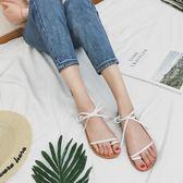 涼鞋平底簡約綁帶羅馬女鞋子【南風小舖】