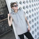 售完即止-連帽T恤夏裝休閒背心男士韓版寬鬆運動無袖T恤馬甲衛衣汗衫8-24(庫存清出S)
