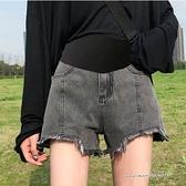 孕婦裝 MIMI別走【P61928】完美時尚 百搭毛邊破損剪裁牛仔短褲 孕婦短褲