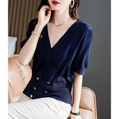 針織衫 針織上衣女氣質尖貨 法式圍裹時髦V領 清爽桑蠶絲針織短袖衫D303A快時尚