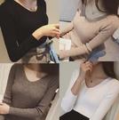 氣質V領針織衫 打底衫 純色修身顯瘦長袖打底針織衫女1022T353韓衣裳
