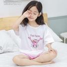 女童睡衣夏女童薄款空調家居服兒童套裝純棉短袖休閒女寶寶睡衣童裝兩件套 快速出貨