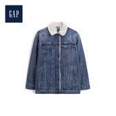 Gap女裝人造羊毛絨內裏牛仔外套500625-深靛藍色
