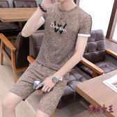 運動套裝 男夏季短袖T恤短褲二件套休閒夏裝半袖上衣五分短褲 QX14689【花貓女王】