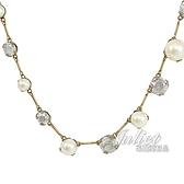 茱麗葉精品【全新現貨】Christian Dior CD LOGO珍珠水鑽造型頸鍊.金