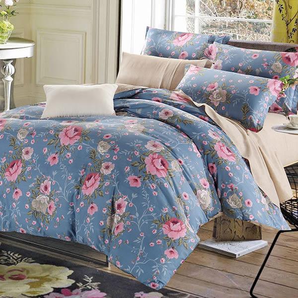 ☆雙人加大薄床包三件組☆100%精梳純棉6x6.2尺(180x186公分) 加高35CM《寫意花園》