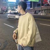 圓領韓版男士毛衣潮流寬鬆情侶針織衫純色【聚寶屋】
