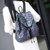 後背包菱格女日本磨砂變色明星同款新款電腦旅行書包幾何背包 英雄聯盟
