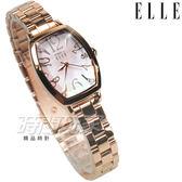 ELLE 時尚尖端 酒樽型 晶鑽圓舞曲 女錶 纖細不銹鋼 手環錶 防水錶 女錶 玫瑰金色 ES21022B04X