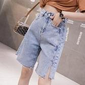 牛仔短褲女夏2021新款顯瘦寬松直筒五分褲小個子高腰開叉闊腿中褲