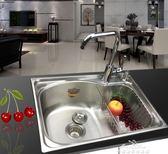 水槽 廚房不銹鋼水槽單槽單水池洗菜盆洗碗池不銹鋼單盆單槽淘菜盆水盆 全館免運igo
