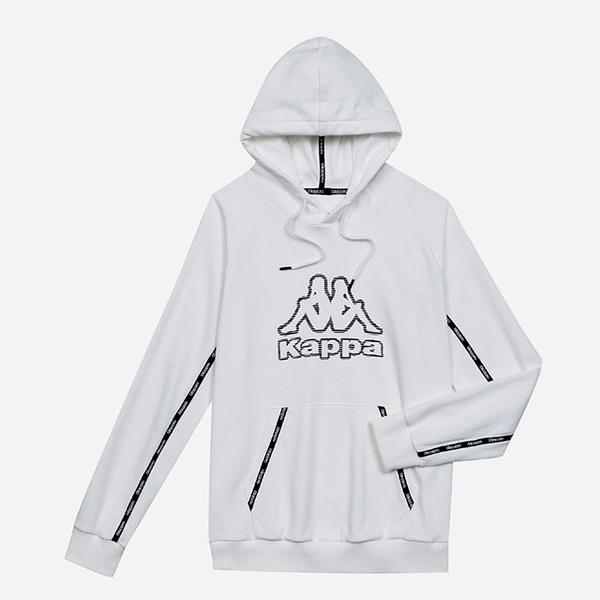 KAPPA義大利 精典棉感男款針織運動連帽T~白 351473W001