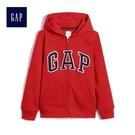 Gap男童 Logo舒適抓絨基本款圖案拉鏈連帽長袖休閒外套 260311-正紅色