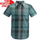 【The North Face 男款 快乾短袖襯衫 藍/瀝灰格紋  】 NF00CK9Q/快乾/短袖襯衫/排汗衣★滿額送